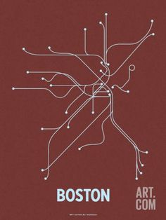 Boston (Maroon & Pale Blue) Serigraph by Line Posters. Save up to 40% for a limited time at Art.com.