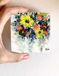 Mini painting, Original painting, Acrylic painting, Floral painting, Paint on canvas, Gift for her, Wedding favors for guests, Favors by WhiteRoomallhandmade on Etsy https://www.etsy.com/listing/606279244/mini-painting-original-painting-acrylic