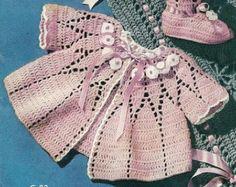 Pink Baby Set and Blanket - 5 Patterns - Instant Download Digital File - Vintage Crochet Pattern -  Pattern 168