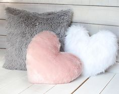 Your place to buy and sell all things handmade : White Fur Heart Shaped Pillow Fur Nursery Pillow Pink and Bedroom Decor For Teen Girls, Cute Bedroom Ideas, Cute Room Decor, Room Ideas Bedroom, Rose Gold Room Decor, Rose Gold Rooms, Gold Bedroom Decor, Room Design Bedroom, Girl Bedroom Designs