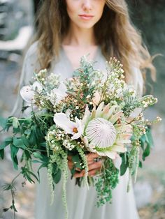 Montenegro Wedding Inspiration via Magnolia Rouge Protea Wedding, Floral Wedding, Bouquet Wedding, Wedding Dresses, Bride Bouquets, Floral Bouquets, Bluebell Bridal, Protea Bouquet, Wedding Mood Board