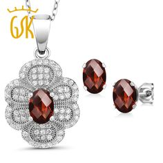 Aliexpress.com : Buy GemStoneKing 3.32Ct Oval Checkerboard Natural Red Garnet Vintage Jewelry Set For Women 925 Sterling Silver Pendant Earrings Set from Reliable jewelry sets suppliers on Gem stone king Official Store