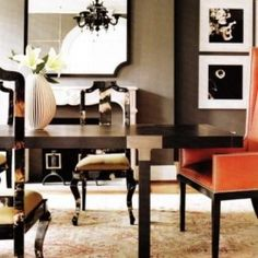 Dining Room - black, orange and tan