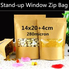 50pcs 14cm*20+4cm 280micron Small Kraft Paper Window Bag, Stand Up Zip Window Bag, Paper Food Shopping Bag