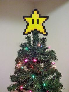 ORIGINAL Mario Bros. Perler Bead Star Christmas Tree Topper - december trends - gifts - trending