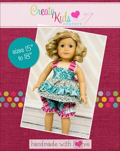 Lacey's Reversible Apron Top & Iris' Frilly Shorts Doll Size PDF Pattern