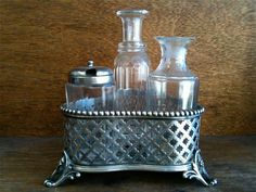 Antique English Cruet Holder with Crystal Bottles by EnglishShop, $95.00