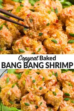 Bang Bang Shrimp, the popular Bonefish Grill appetizer, is easy and healthy to make at home! Crispy shrimp coated in a creamy, spicy sauce. This recipe skips the mess of the deep fryer and uses Panko to bake the shrimp to crispy perfection in the oven instead! #wellplated #bangbangshrimp via @wellplated Crispy Shrimp Recipe, Baked Shrimp Recipes, Seafood Recipes, Appetizer Recipes, Cooking Recipes, Jack Shrimp Recipe, Shrimp Appetizers, Meat Recipes, Yummy Recipes