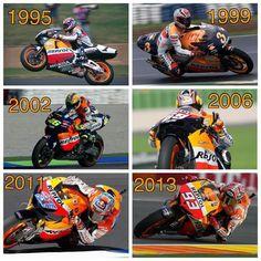 Honda Motogp Champions that raced the Repsol bikes. Doohan, Criville, Rossi, Hayden, Stoner and Marquez. Honda Cbr 600, 2013 Honda, Bmw S1000rr, Vr46, Road Racing, Motogp, Motor Car, Motorbikes, Motorcycle