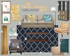 I love the color scheme of this living room! I could keep my focal wall color (an aqua bluish color), add in punches of yellow (my favorite!!) I'd rather have a sectional sofa and some fun chairs (love the chevron chair!!) Add a fireplace and it's perfect!