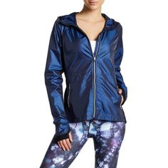 Nanette Lepore Iridescent Windbreaker ($43) ❤ liked on Polyvore featuring activewear, iridescent blue and nanette lepore