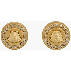 VERSACE Gold And Crystal Medallion Clip-On Earrings ($325) ❤ liked on Polyvore