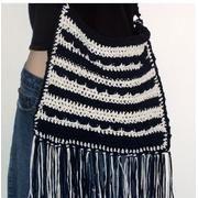 Crochet fringed hobo bag pattern