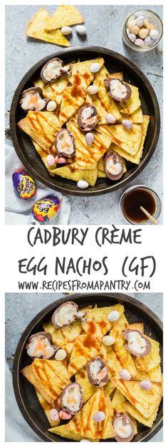 Cadbury crème egg nachos recipe - this is awesome and made with Cadbury Crème Eggs + homemade sugar vanilla tortillas + a caramel sauce Spring Recipes, Easter Recipes, Egg Recipes, Appetizer Recipes, Snack Recipes, Dessert Recipes, Picnic Recipes, Easter Food, Easter Ideas