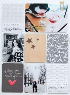 Pocket scrapbooking ideas. Inspiration for keeping a scrapbook. Photos, journal cards, and page layouts