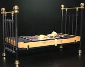 1:12th Scale Dollhouse Miniature Standard Single Beds - Black or White