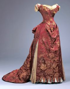 """House of Worth: Charles Frederick Worth silk brocade ball gown plus matching day bodice, c.1885. Label: """"C. Worth/Paris"""" in petersham."""