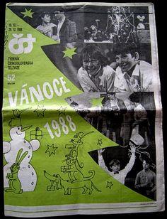 Vánoce (Christmas) - ČST - 1988 - strana 1 Retro 2, Memories, Christmas, Poster, Magazines, Art, Historia, Archive, Nostalgia
