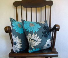 Two flower design turquoise silver black by ItsSewInspirational, Black Pillow Covers, Black Pillows, Cushion Pads, Cushion Covers, Dark Grey Background, Handmade Cushions, Throw Cushions, Silver Flowers, Flower Designs