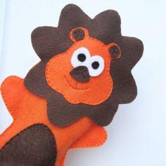 Felt Hand Puppet Adorable Felt Lion  ecofriendly by Mariapalito, $12.00