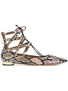 AQUAZZURA snakeskin print lace-up ballerinas. #aquazzura #shoes #flats