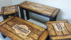 Handbuilt and handpainted table set.   2 end tables, 1 console table and a coffee table. Finished in an aged look stain with 2 coats of protective lacquer and logo on this set was requested to be an old Harley Davidson sign - distressed and aged.