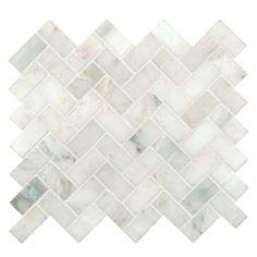 Home Depot: MS International Arabescato Carrara Herringbone Pattern 12 in. x 12 in. x 10 mm Honed Marble Mesh-Mounted Mosaic Tile sq. / case)-SMOT-ARA-HBH - The Home Depot