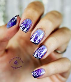 Indian Ocean Polish: Purple Marbled Gradient with MoYou Suki 07 Stamped Swirls