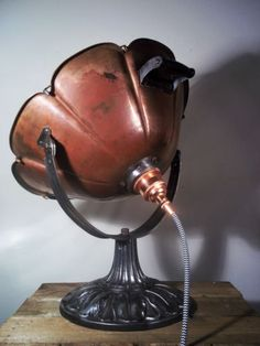 Converted-Vintage-Copper-Heat-Lamp-Adjustable-Industrial-Steampunk-Table-Lamp