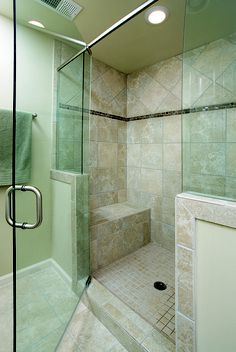 Porcelain Tile Shower with Glass Accent  Listello