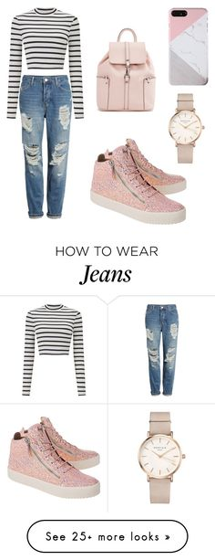 """Pink jeans look"" by amanielena on Polyvore featuring Topshop, Miss Selfridge, Giuseppe Zanotti and ROSEFIELD"