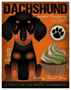 Dachshund Cupcake Company Original Art Print  by DogsIncorporated, $29.00
