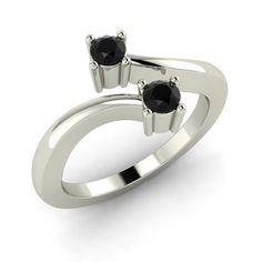 1 5 Carat Genuine Black Diamond Bypass Promise Fine Ring Free Sizing | eBay