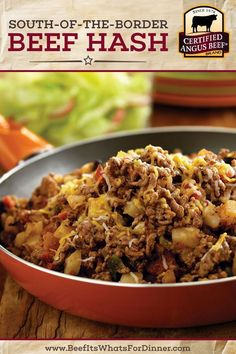 South-of-the-Border Beef Hash is a DELICIOUS bowl of comfort food! This quick and easy recipe uses Certified Angus Beef ®️️️️️ brand le. Best Beef Recipes, Meat Recipes, Cooking Recipes, Mexican Recipes, Casserole Recipes, Recipies, Ground Beef And Potatoes, Ground Beef Hash Recipe, Roast Beef Hash