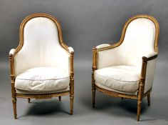 A Beautiful Pair of Late 19th Century Louis XVI Style Giltwood Bergeres