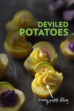 Like deviled eggs, but better. Potatoes elevate this classic potluck into something exquisite to look at, and devour. Instead of eggs, petite yellow potatoes provide the delicious base for the creamy deviled filling. Looking to make these vegan or plant b Appetizer Recipes, Snack Recipes, Cooking Recipes, Appetizers, Good Food, Yummy Food, Vegan Thanksgiving, Side Dish Recipes, Side Dishes