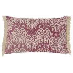 ANNEVILLE Pink Linen Cushion Cover  with Beige Motifs | Maisons du Monde