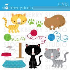 Cat Personal and Commerical Use Vector Clipart by stockberrystudio, $5.00
