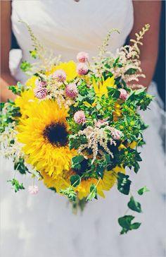 sunflower wedding bouquet for rustic garden wedding Rustic Garden Wedding, Rustic Wedding Flowers, Floral Wedding, Fall Wedding, Wedding Bouquets, Dream Wedding, Wedding Ideas, Diy Wedding, Wedding Stuff