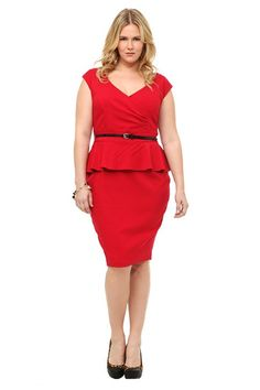 A pop of trend-right peplum lends sexy style to this red dress. We love how the pintuck-accented surplice neckline and the black patent skinny belt give the simple, femininely structured silhouette the perfect finish.