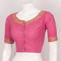 Buy online Handcrafted Cotton Blouse With Embroidered Neck & Sleeve 10026009 - Size 38
