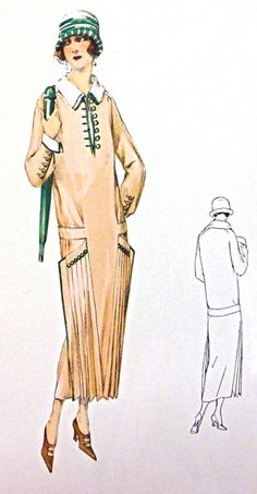1920s vintage pleated dress sewing pattern For by Contrapunt, €20.00