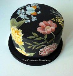 Tiens un haut cake idee Hand Paintwd Black Floral - Cake by Sarah Jones Gorgeous Cakes, Pretty Cakes, Cute Cakes, Amazing Cakes, Crazy Cakes, Fancy Cakes, Fondant Cakes, Cupcake Cakes, Hand Painted Cakes
