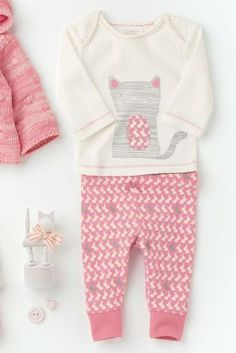 Buy Cat Tee Shirt And Printed Legging Set (0-18mths) online today at Next: Greece
