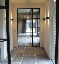 VLOER gorgeous metal framed windows and doors -Belgian bluestone floors - Moka Projects Stone Tile Flooring, Flagstone Flooring, Interior Architecture, Interior And Exterior, Belgian Blue, Belgian Style, Steel Doors And Windows, Metal Doors, New Homes