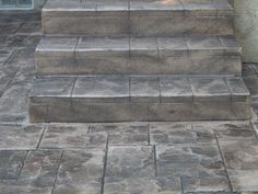 Stamped Concrete Steps | After - New Stairs Stamped w/ Ashlar Slate - PRECISION CONCRETE ...