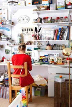 Dream studio, my art studio, home studio, studio spaces, studio ideas Space Crafts, Home Crafts, Craft Space, Diy Crafts, Ideas Para Organizar, Studio Organization, Dream Studio, Studio Studio, Sewing Rooms