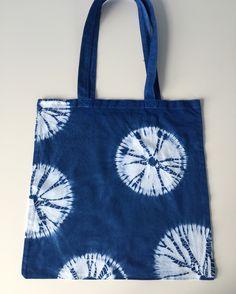 Makiage kumo circles shibori cotton tote bag. Mayan indigo. By Rob Jones, Alexandra Palace, July 2016.