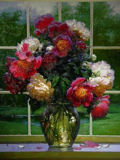 Does anyone know the artist of this painting? Victor Nizovtsev, Still Life Flowers, Flower Boutique, Modern Art Paintings, Floral Paintings, Magic Realism, Garden Painting, Floral Motif, Watercolor Flowers