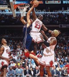 Michael Jordan rejects the New Jersey Nets' Chris Gatling at the rim in Game 1 of an Eastern Conference playoffs first-round series in With Jordan scoring 32 or more points in each game,es. Sport Basketball, Basketball Pictures, Basketball Legends, Basketball Players, Nba Pictures, Basketball Court, Basketball Shoes, Michael Jordan Basketball, Jordan 23